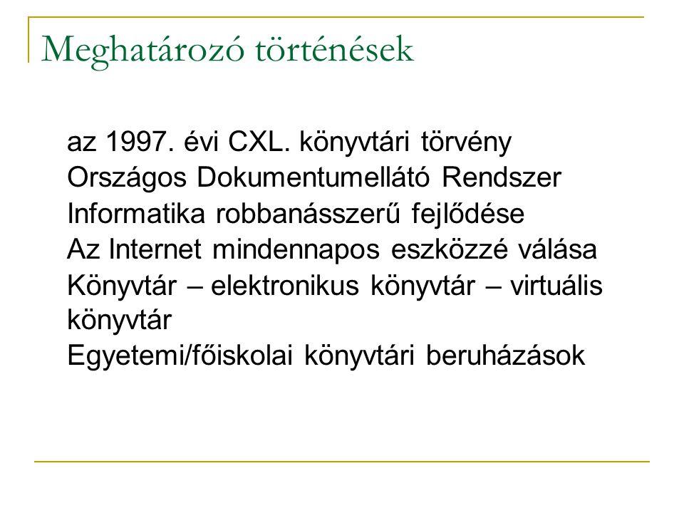 Meghatározó történések n az 1997. évi CXL.