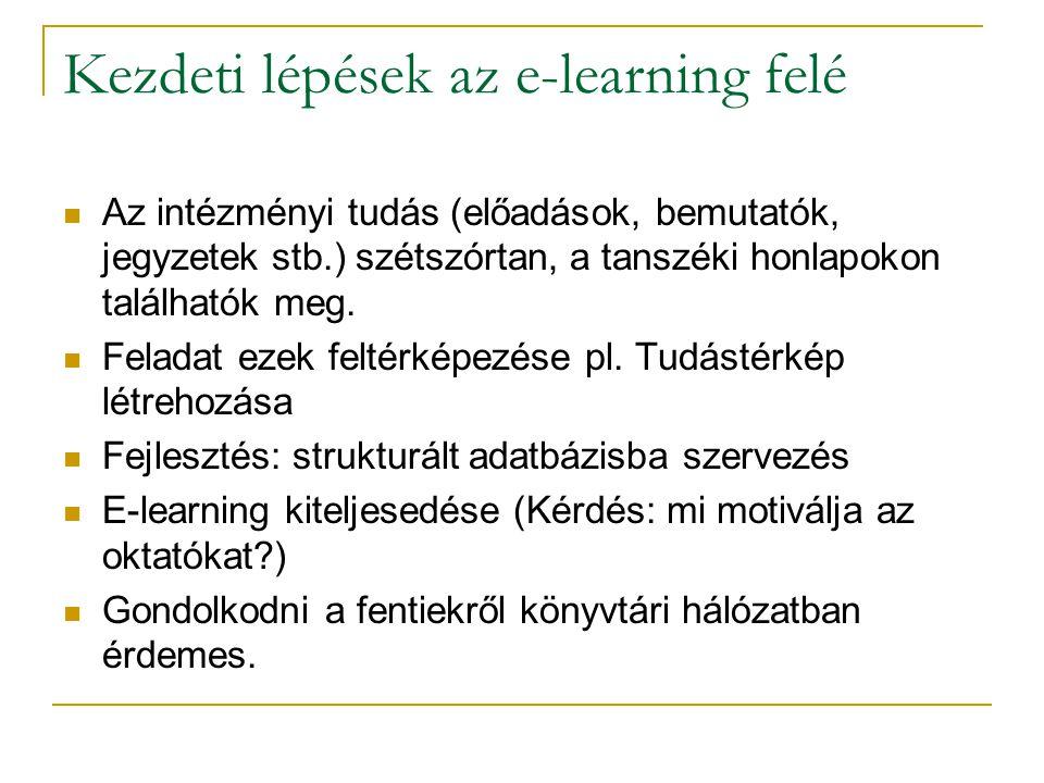 Kezdeti lépések az e-learning felé Az intézményi tudás (előadások, bemutatók, jegyzetek stb.) szétszórtan, a tanszéki honlapokon találhatók meg.