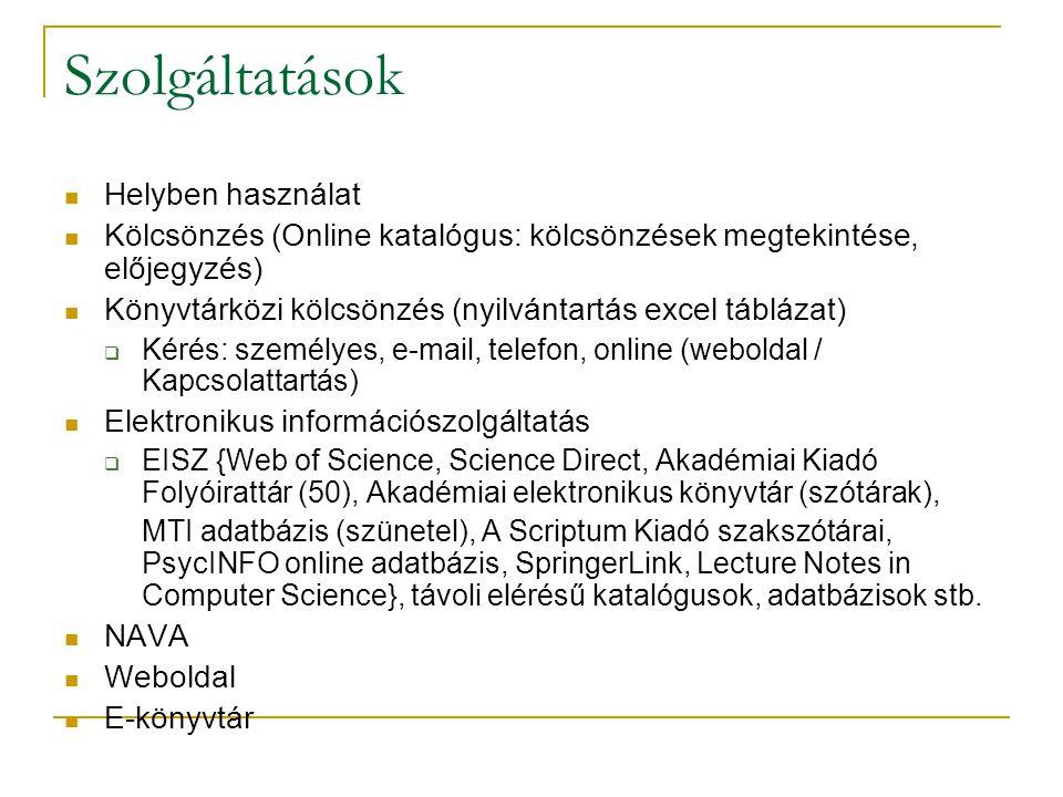 Szolgáltatások Helyben használat Kölcsönzés (Online katalógus: kölcsönzések megtekintése, előjegyzés) Könyvtárközi kölcsönzés (nyilvántartás excel táblázat)  Kérés: személyes, e-mail, telefon, online (weboldal / Kapcsolattartás) Elektronikus információszolgáltatás  EISZ {Web of Science, Science Direct, Akadémiai Kiadó Folyóirattár (50), Akadémiai elektronikus könyvtár (szótárak), MTI adatbázis (szünetel), A Scriptum Kiadó szakszótárai, PsycINFO online adatbázis, SpringerLink, Lecture Notes in Computer Science}, távoli elérésű katalógusok, adatbázisok stb.