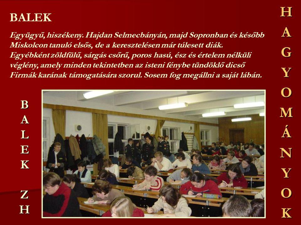 BALEKZHBALEKZHBALEKZHBALEKZH BALEK Együgyű, hiszékeny. Hajdan Selmecbányán, majd Sopronban és később Miskolcon tanuló elsős, de a keresztelésen már tú