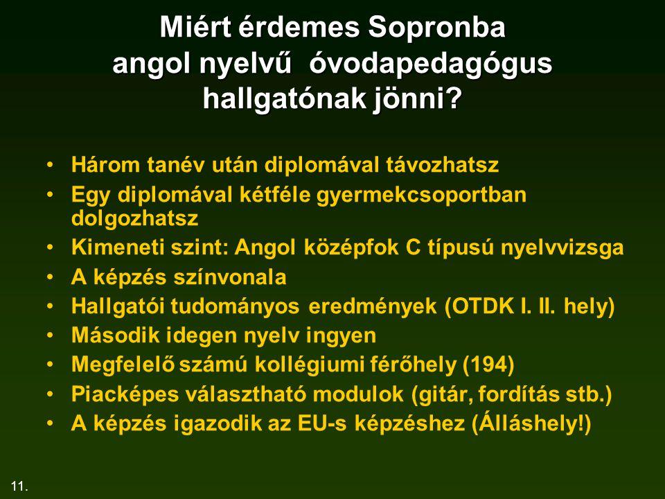 11.Miért érdemes Sopronba angol nyelvű óvodapedagógus hallgatónak jönni.