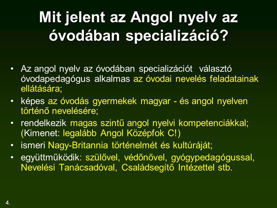 4.Mit jelent az Angol nyelv az óvodában specializáció.