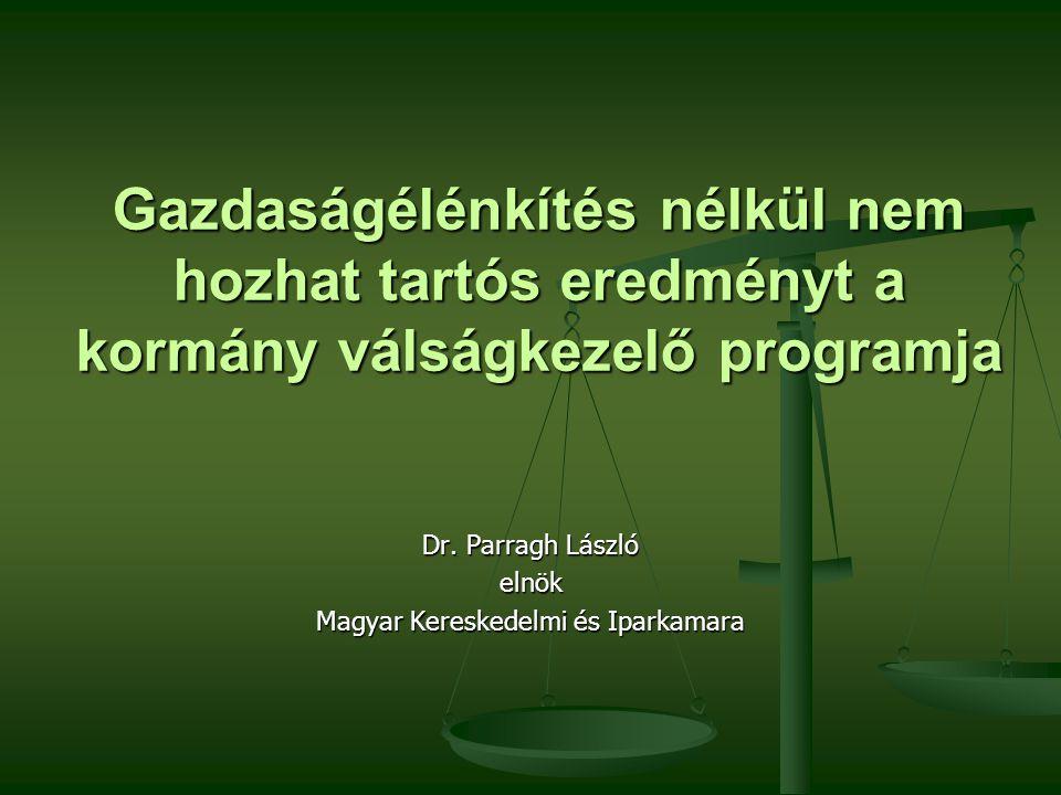 Gazdaságélénkítés nélkül nem hozhat tartós eredményt a kormány válságkezelő programja Dr.