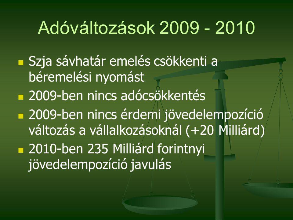 Adóváltozások 2009 - 2010 Szja sávhatár emelés csökkenti a béremelési nyomást 2009-ben nincs adócsökkentés 2009-ben nincs érdemi jövedelempozíció változás a vállalkozásoknál (+20 Milliárd) 2010-ben 235 Milliárd forintnyi jövedelempozíció javulás