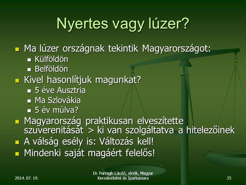 2014. 07. 19. Dr. Parragh László, elnök, Magyar Kereskedelmi és Iparkamara35 Nyertes vagy lúzer.