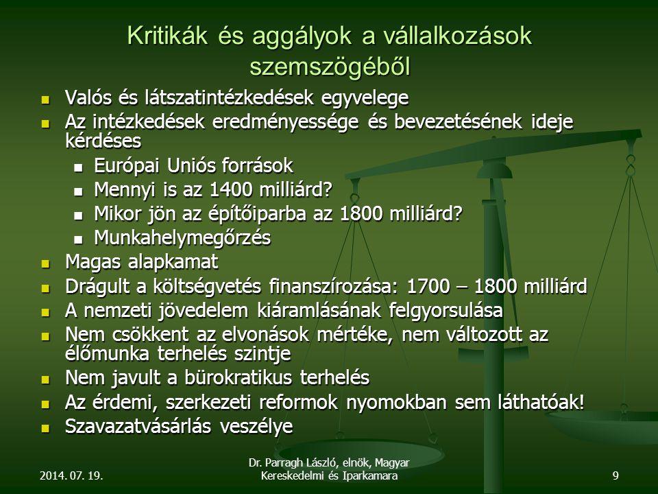 2014. 07. 19. Dr. Parragh László, elnök, Magyar Kereskedelmi és Iparkamara9 Kritikák és aggályok a vállalkozások szemszögéből Valós és látszatintézked
