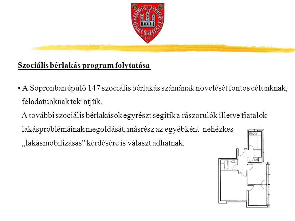 A Sopronban épülő 147 szociális bérlakás számának növelését fontos célunknak, feladatunknak tekintjük.