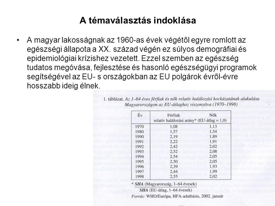 A témaválasztás indoklása A magyar lakosságnak az 1960-as évek végétől egyre romlott az egészségi állapota a XX. század végén ez súlyos demográfiai és