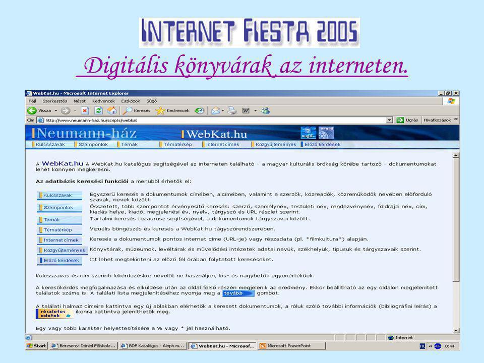 Digitális könyvárak az interneten.