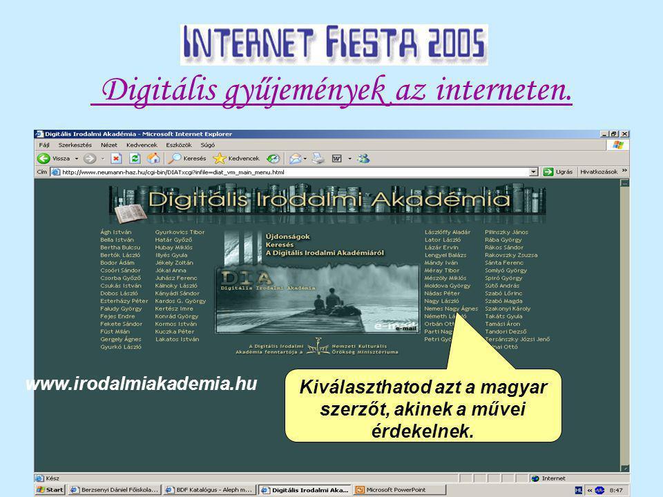 Digitális gyűjemények az interneten.