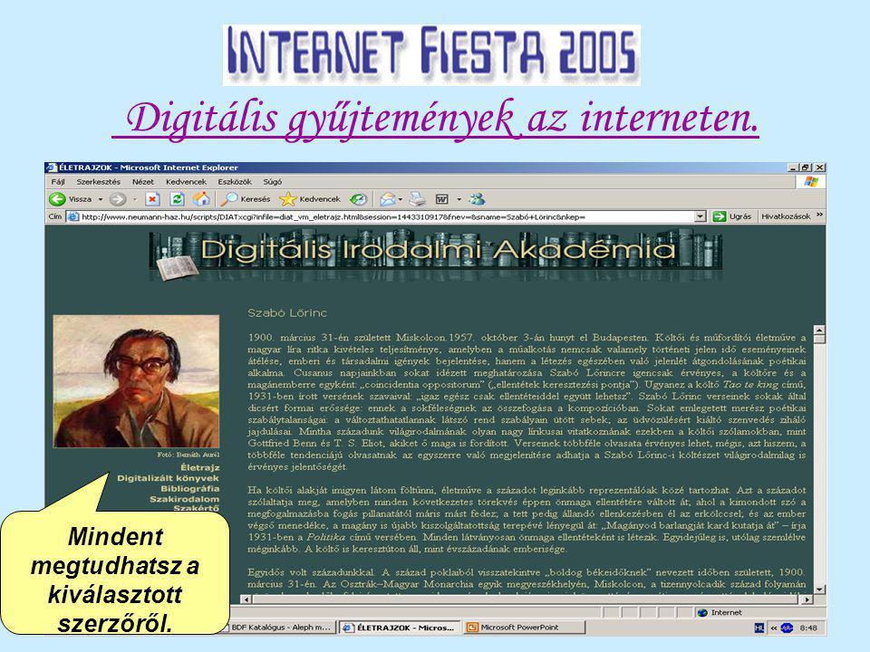 Digitális gyűjtemények az interneten. Mindent megtudhatsz a kiválasztott szerzőről.