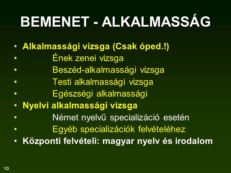 10. BEMENET - ALKALMASSÁG Alkalmassági vizsga (Csak óped.!) Ének zenei vizsga Beszéd-alkalmassági vizsga Testi alkalmassági vizsga Egészségi alkalmass