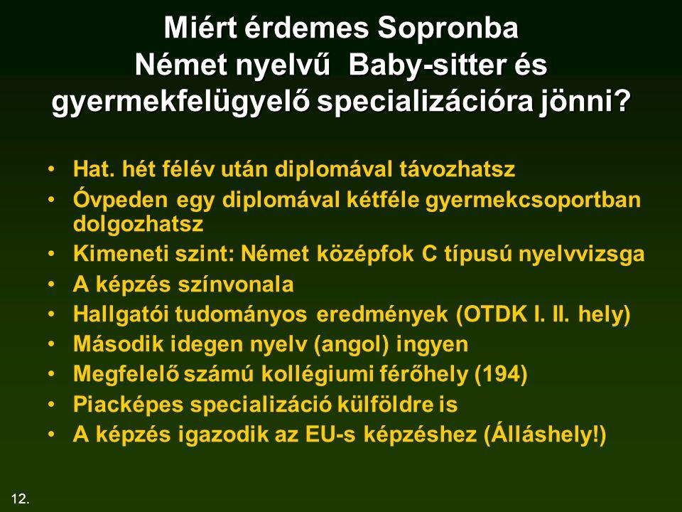 12. Miért érdemes Sopronba Német nyelvű Baby-sitter és gyermekfelügyelő specializációra jönni? Hat. hét félév után diplomával távozhatsz Óvpeden egy d