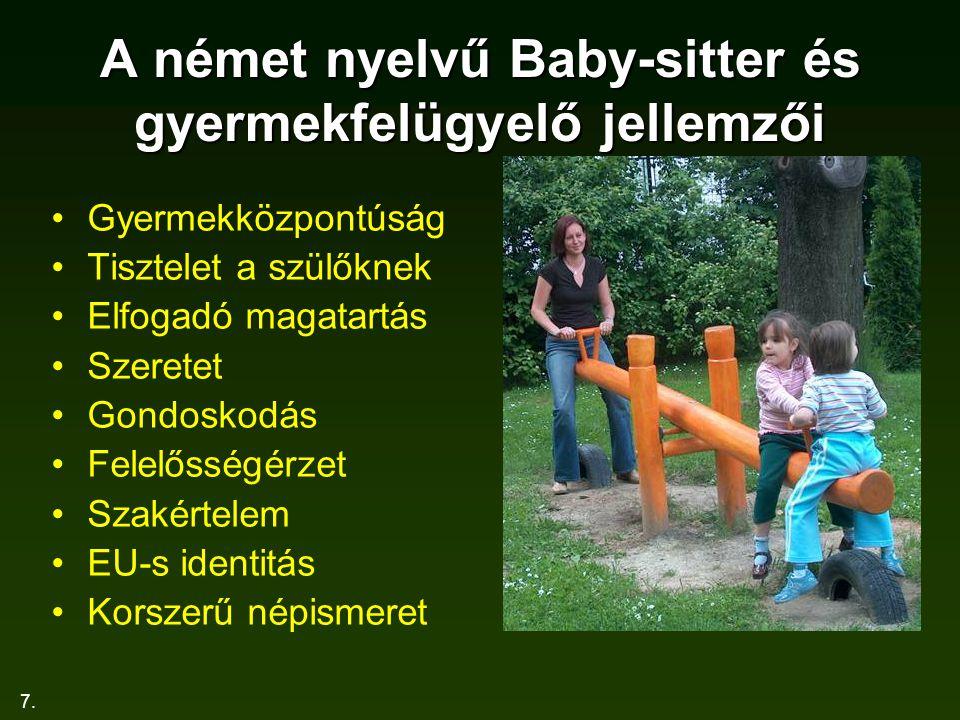 7. A német nyelvű Baby-sitter és gyermekfelügyelő jellemzői Gyermekközpontúság Tisztelet a szülőknek Elfogadó magatartás Szeretet Gondoskodás Felelőss