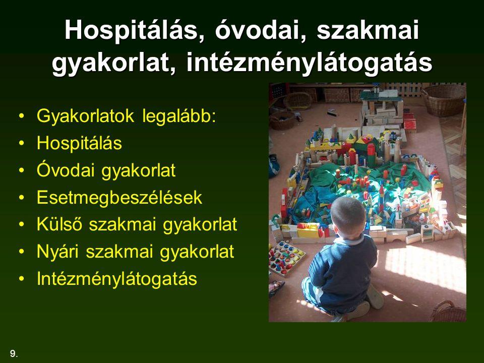 9. Hospitálás, óvodai, szakmai gyakorlat, intézménylátogatás Gyakorlatok legalább: Hospitálás Óvodai gyakorlat Esetmegbeszélések Külső szakmai gyakorl