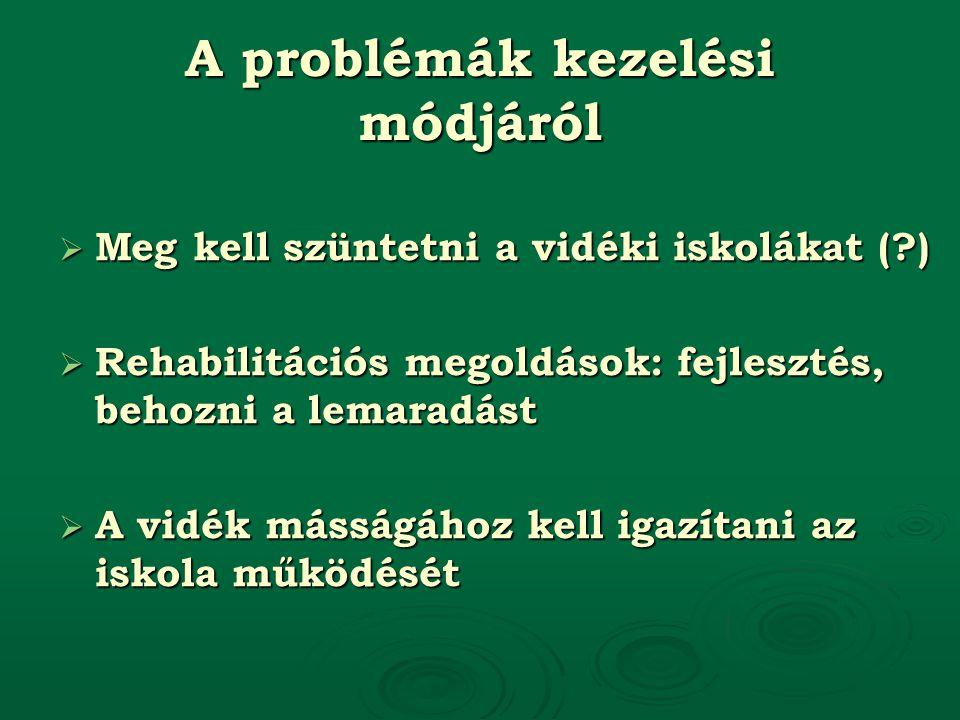 A problémák kezelési módjáról  Meg kell szüntetni a vidéki iskolákat ( )  Rehabilitációs megoldások: fejlesztés, behozni a lemaradást  A vidék másságához kell igazítani az iskola működését