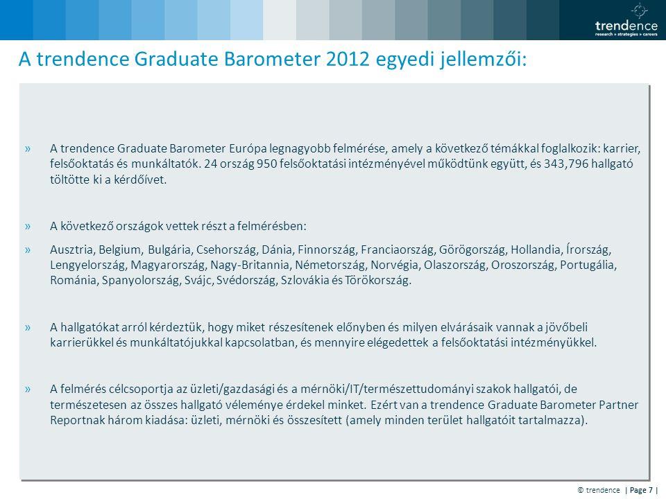 © trendence | Page 7 | »A trendence Graduate Barometer Európa legnagyobb felmérése, amely a következő témákkal foglalkozik: karrier, felsőoktatás és munkáltatók.