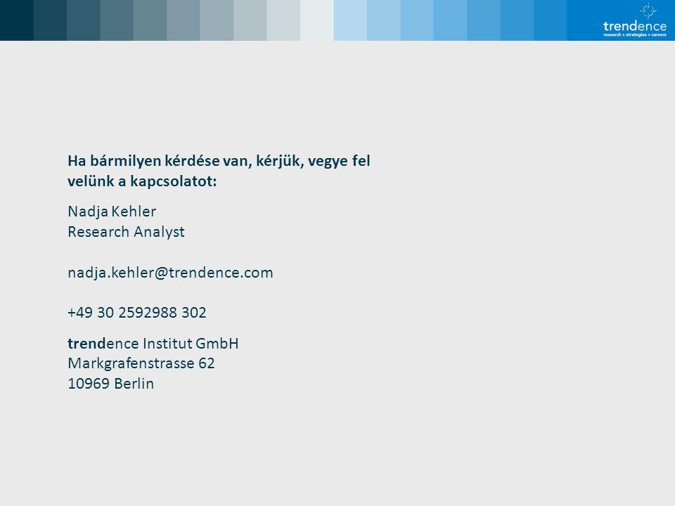 Ha bármilyen kérdése van, kérjük, vegye fel velünk a kapcsolatot: Nadja Kehler Research Analyst nadja.kehler@trendence.com +49 30 2592988 302 trendence Institut GmbH Markgrafenstrasse 62 10969 Berlin