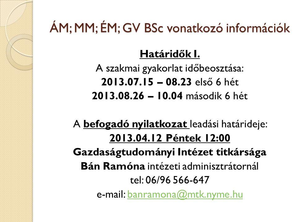 ÁM; MM; ÉM; GV BSc vonatkozó információk Határidők I.