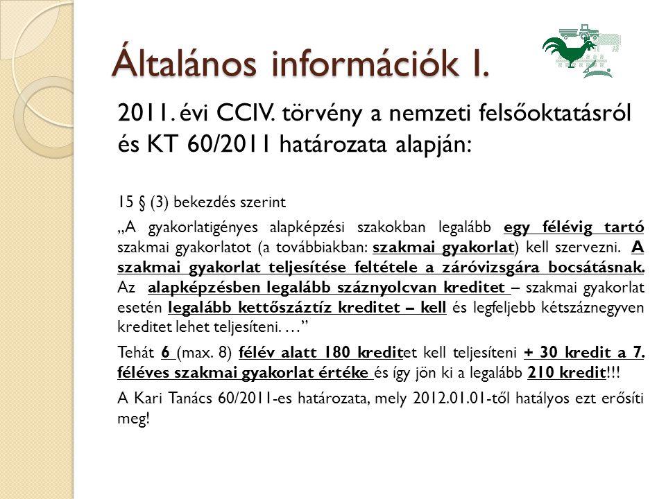Általános információk I. 2011. évi CCIV.