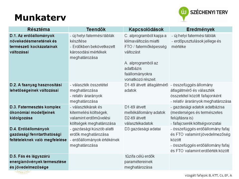 RésztémaTeendőkKapcsolódásokEredmények D.1.