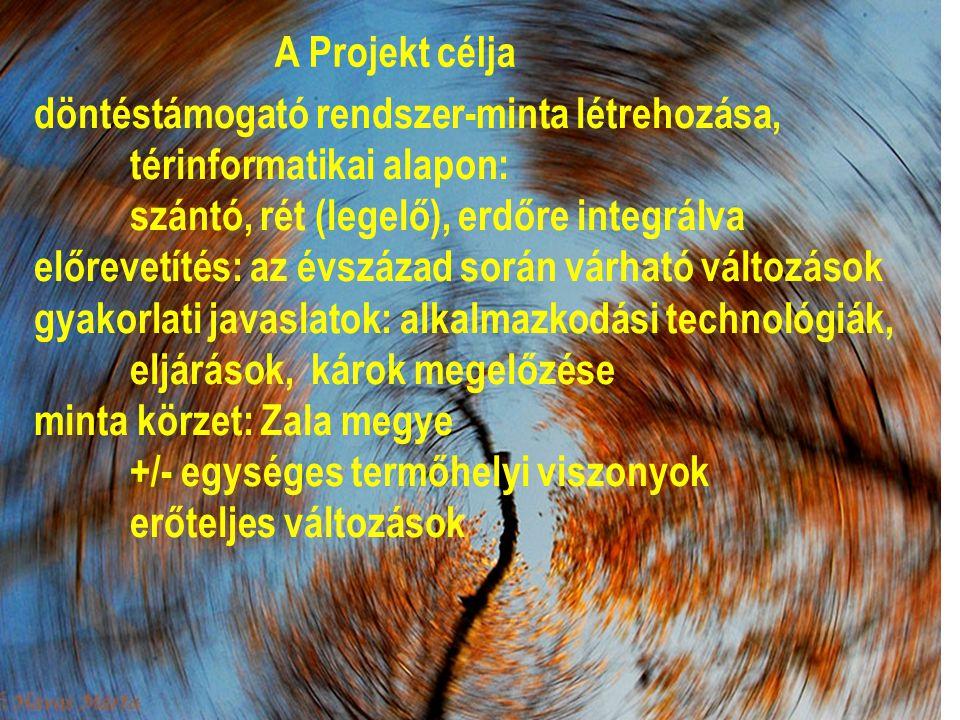 A Projekt célja döntéstámogató rendszer-minta létrehozása, térinformatikai alapon: szántó, rét (legelő), erdőre integrálva előrevetítés: az évszázad során várható változások gyakorlati javaslatok: alkalmazkodási technológiák, eljárások, károk megelőzése minta körzet: Zala megye +/- egységes termőhelyi viszonyok erőteljes változások