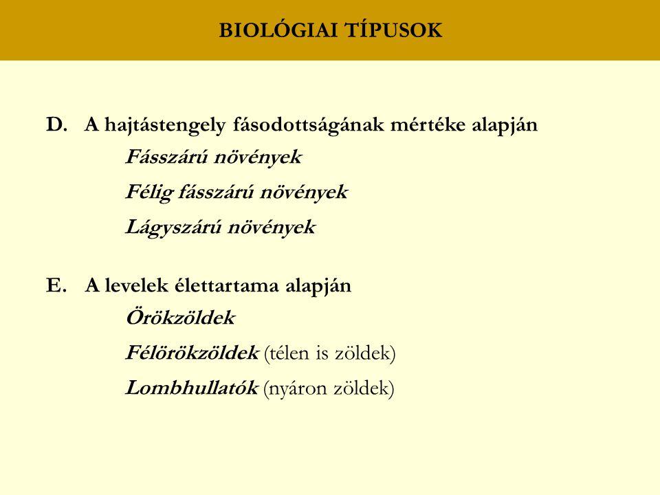 BIOLÓGIAI TÍPUSOK D.