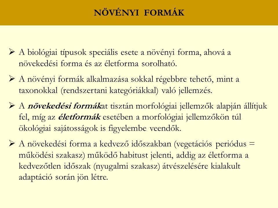 A biológiai típusok speciális esete a növényi forma, ahová a növekedési forma és az életforma sorolható.