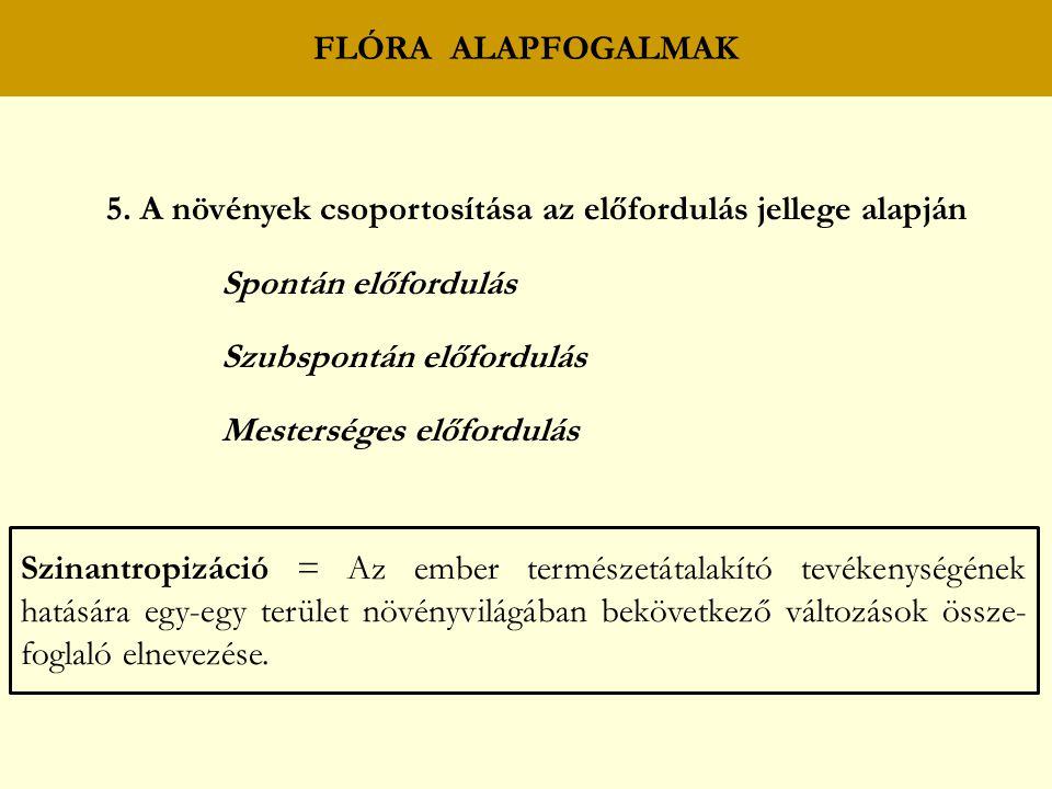 FLÓRA ALAPFOGALMAK 5.