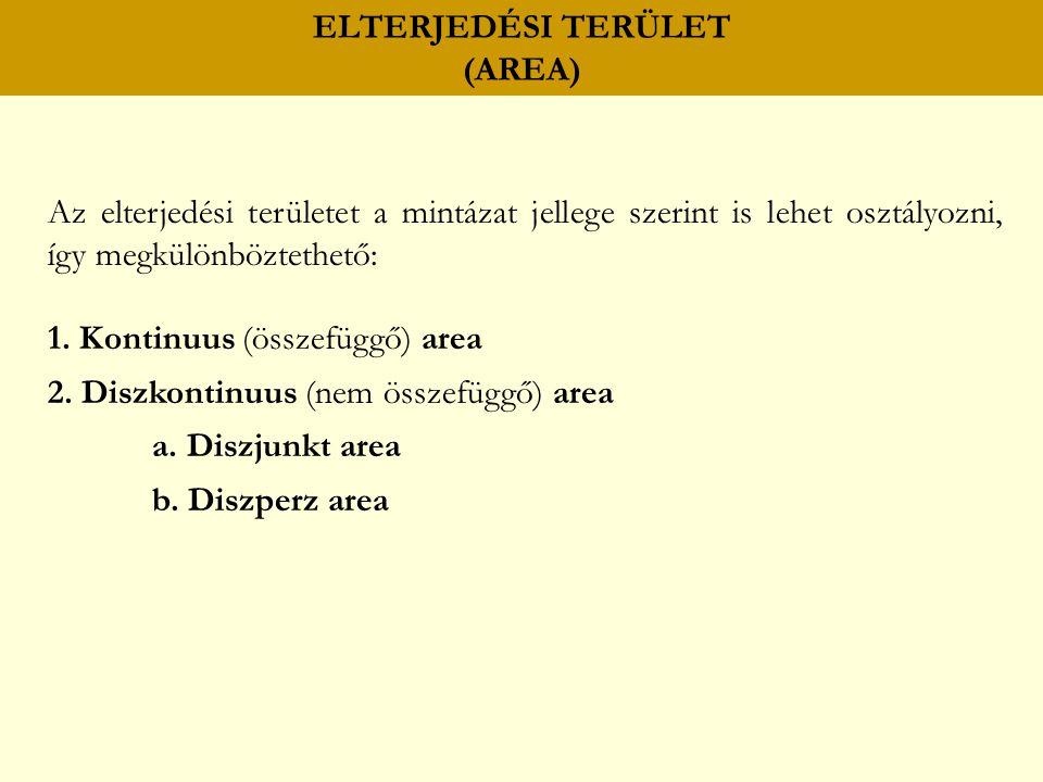 ELTERJEDÉSI TERÜLET (AREA) Az elterjedési területet a mintázat jellege szerint is lehet osztályozni, így megkülönböztethető: 1.