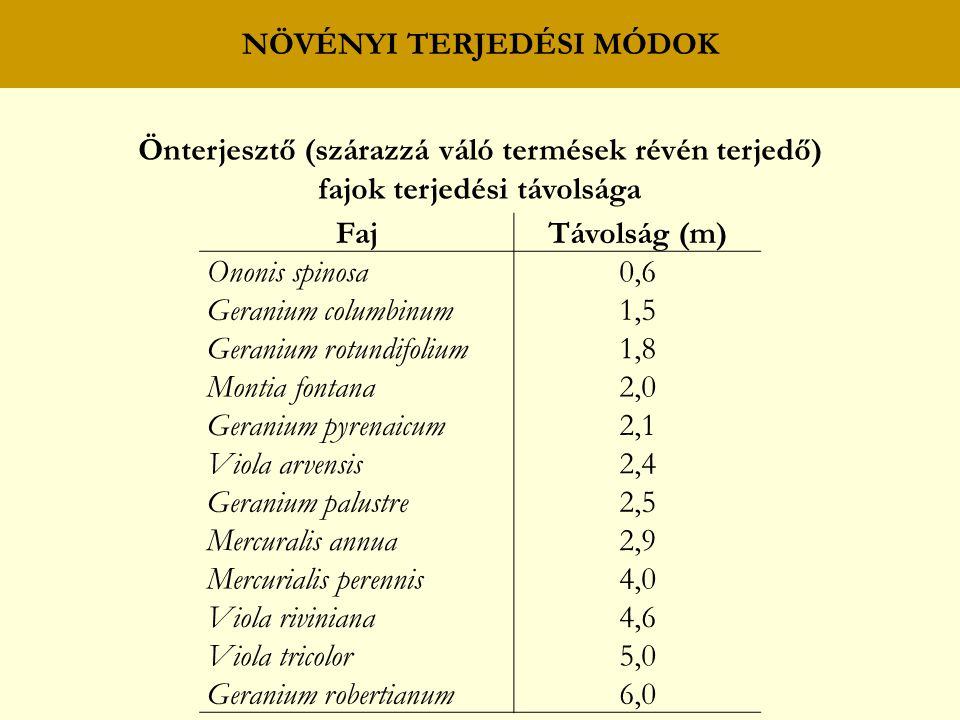 NÖVÉNYI TERJEDÉSI MÓDOK Önterjesztő (szárazzá váló termések révén terjedő) fajok terjedési távolsága FajTávolság (m) Ononis spinosa0,6 Geranium columbinum1,5 Geranium rotundifolium1,8 Montia fontana2,0 Geranium pyrenaicum2,1 Viola arvensis2,4 Geranium palustre2,5 Mercuralis annua2,9 Mercurialis perennis4,0 Viola riviniana4,6 Viola tricolor5,0 Geranium robertianum6,0