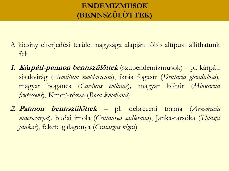 ENDEMIZMUSOK (BENNSZÜLÖTTEK) A kicsiny elterjedési terület nagysága alapján több altípust állíthatunk fel: 1.Kárpáti-pannon bennszülöttek (szubendemizmusok) – pl.