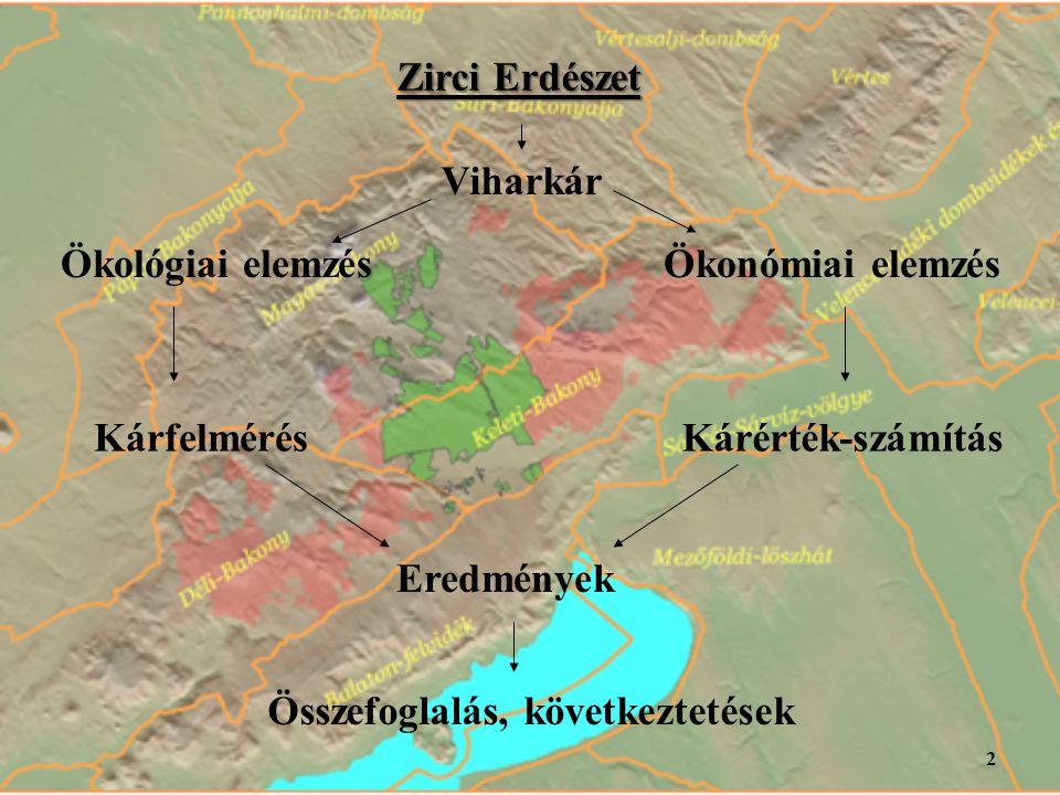 Zirci Erdészet Ökológiai elemzésÖkonómiai elemzés Viharkár Kárfelmérés Eredmények Kárérték-számítás Összefoglalás, következtetések 2