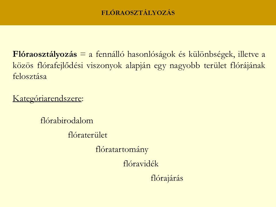 Flóraosztályozás = a fennálló hasonlóságok és különbségek, illetve a közös flórafejlődési viszonyok alapján egy nagyobb terület flórájának felosztása