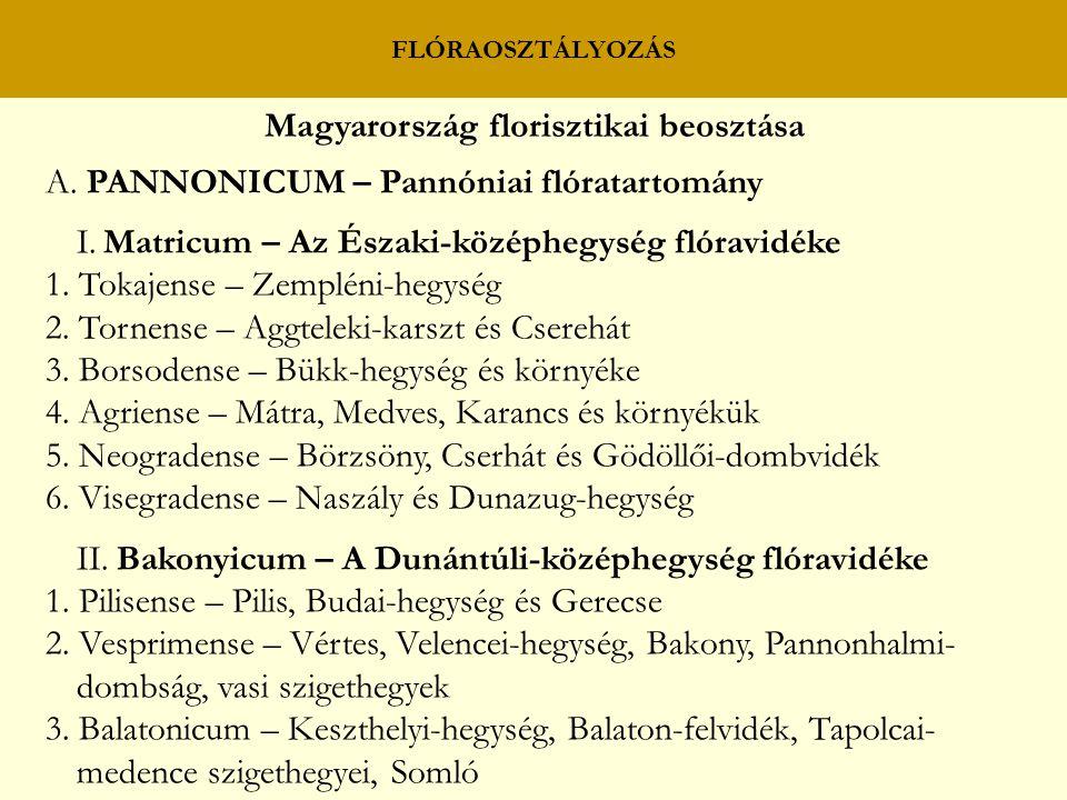 FLÓRAOSZTÁLYOZÁS Magyarország florisztikai beosztása A. PANNONICUM – Pannóniai flóratartomány I. Matricum – Az Északi-középhegység flóravidéke 1. Toka