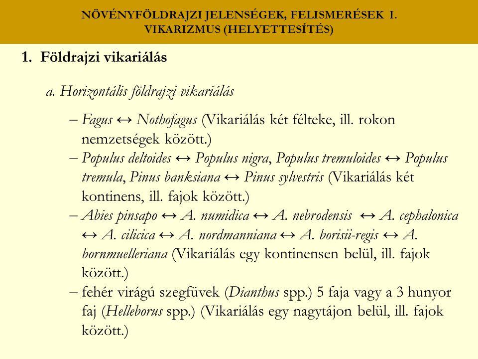 NÖVÉNYFÖLDRAJZI JELENSÉGEK, FELISMERÉSEK I.VIKARIZMUS (HELYETTESÍTÉS) b.