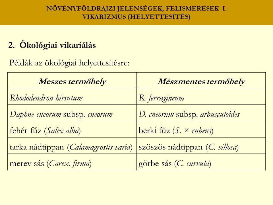 NÖVÉNYFÖLDRAJZI JELENSÉGEK, FELISMERÉSEK I. VIKARIZMUS (HELYETTESÍTÉS) 2. Ökológiai vikariálás Példák az ökológiai helyettesítésre: Meszes termőhely M