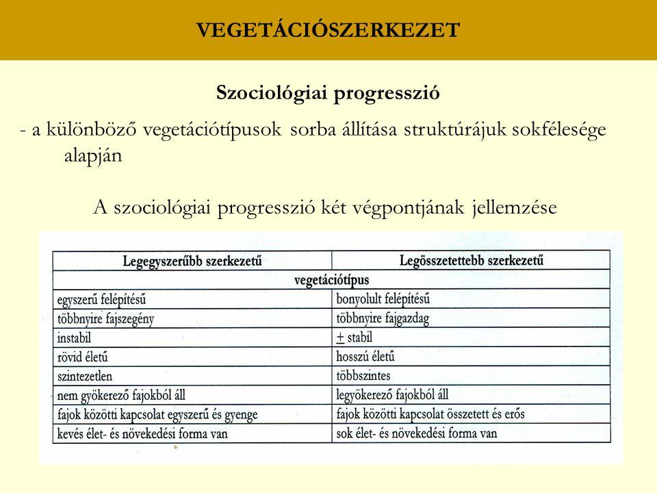 VEGETÁCIÓSZERKEZET Szociológiai progresszió - a különböző vegetációtípusok sorba állítása struktúrájuk sokfélesége alapján A szociológiai progresszió