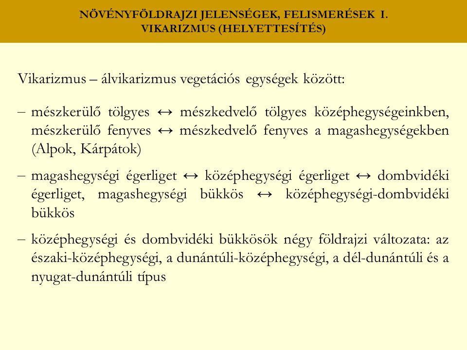 NÖVÉNYFÖLDRAJZI JELENSÉGEK, FELISMERÉSEK I. VIKARIZMUS (HELYETTESÍTÉS) Vikarizmus – álvikarizmus vegetációs egységek között: – mészkerülő tölgyes ↔ mé