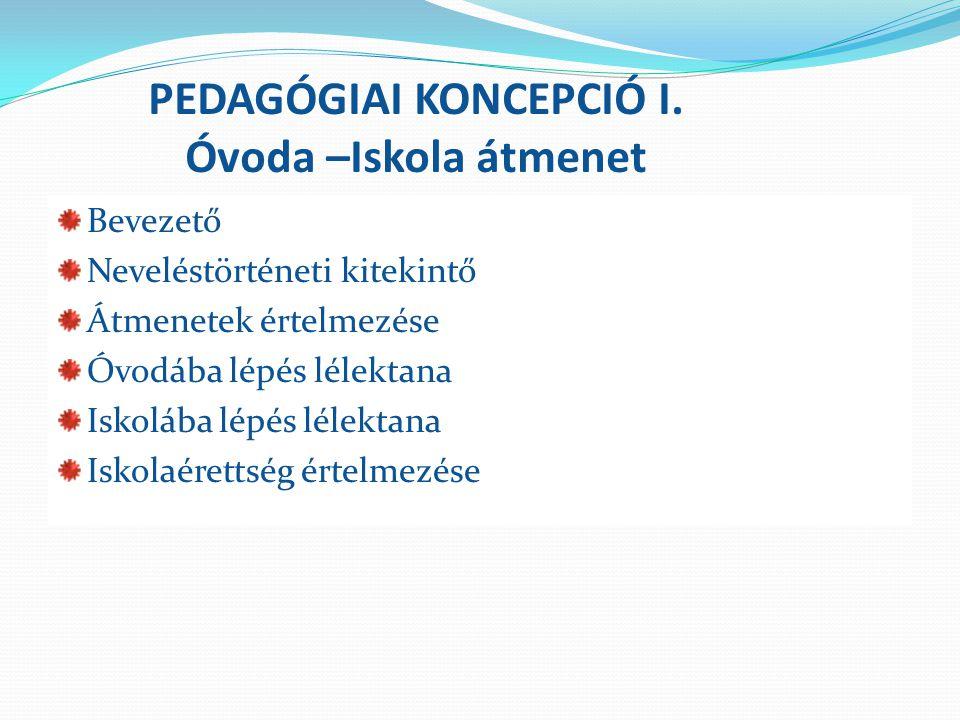 PEDAGÓGIAI KONCEPCIÓ I. Óvoda –Iskola átmenet Bevezető Neveléstörténeti kitekintő Átmenetek értelmezése Óvodába lépés lélektana Iskolába lépés lélekta