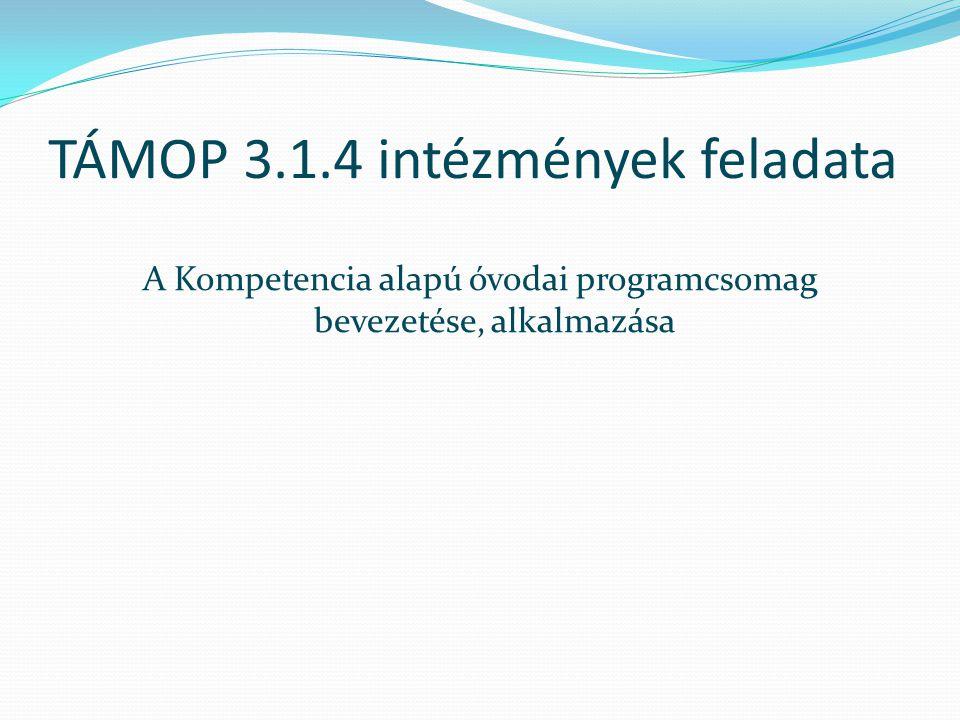 TÁMOP 3.1.4 intézmények feladata A Kompetencia alapú óvodai programcsomag bevezetése, alkalmazása