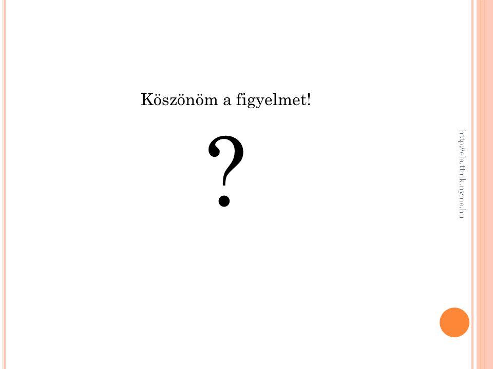 Köszönöm a figyelmet! ? http://ela.ttmk.nyme.hu