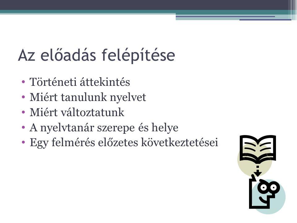 Nyelvoktatás reformja 90 –es évek változásai Kötelező orosznyelv oktatás eltörlése Szabad tankönyvpiac Kommunikatív és poszt kommunikatív nyelvpedagógia Európai Referenciakeret