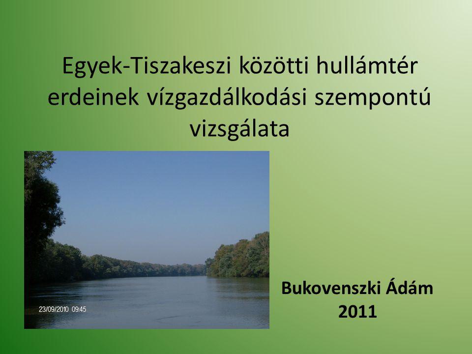 Egyek-Tiszakeszi közötti hullámtér erdeinek vízgazdálkodási szempontú vizsgálata Bukovenszki Ádám 2011