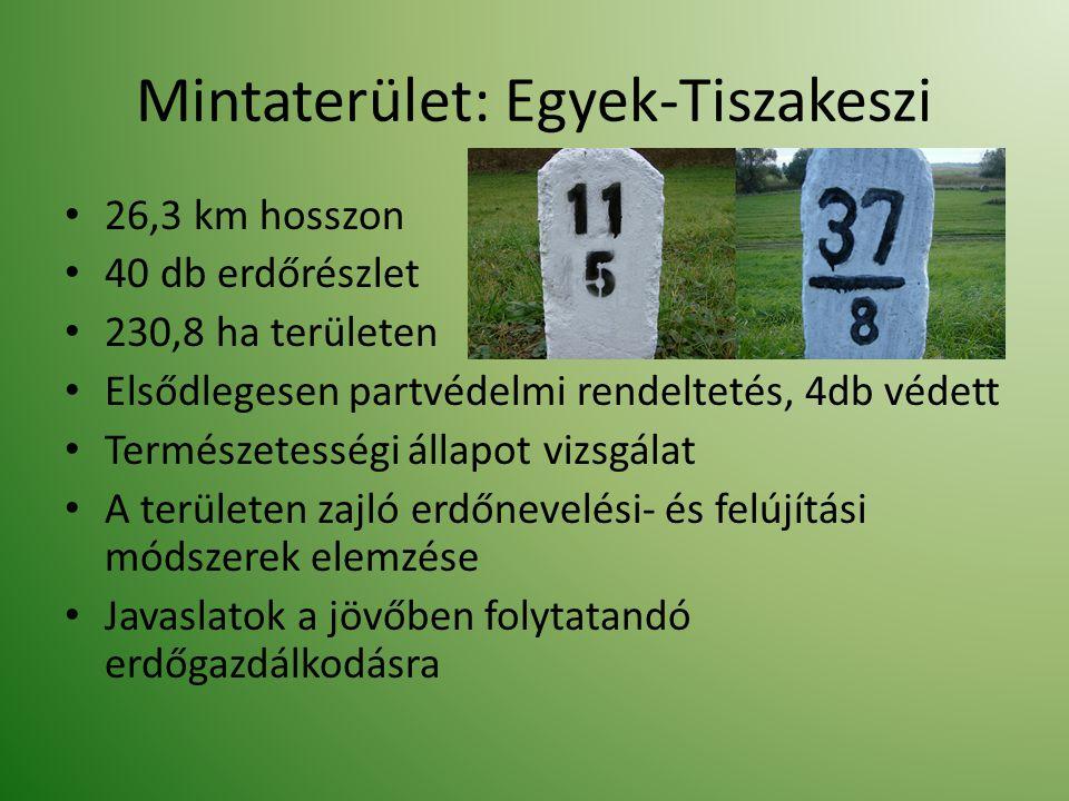 26,3 km hosszon 40 db erdőrészlet 230,8 ha területen Elsődlegesen partvédelmi rendeltetés, 4db védett Természetességi állapot vizsgálat A területen za