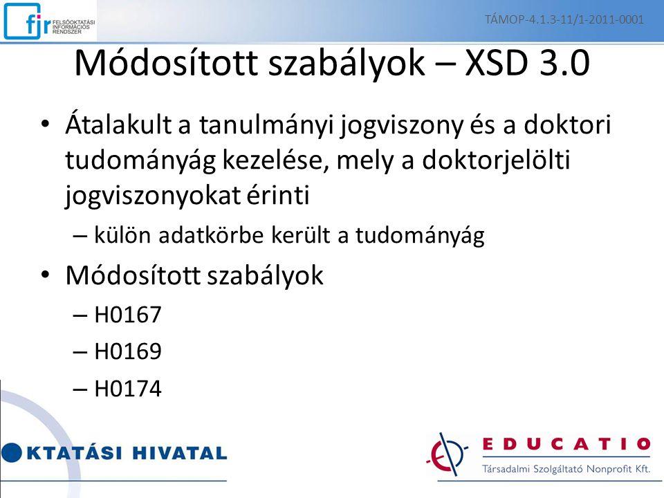 Módosított szabályok – XSD 3.0 Átalakult a tanulmányi jogviszony és a doktori tudományág kezelése, mely a doktorjelölti jogviszonyokat érinti – külön adatkörbe került a tudományág Módosított szabályok – H0167 – H0169 – H0174 TÁMOP-4.1.3-11/1-2011-0001
