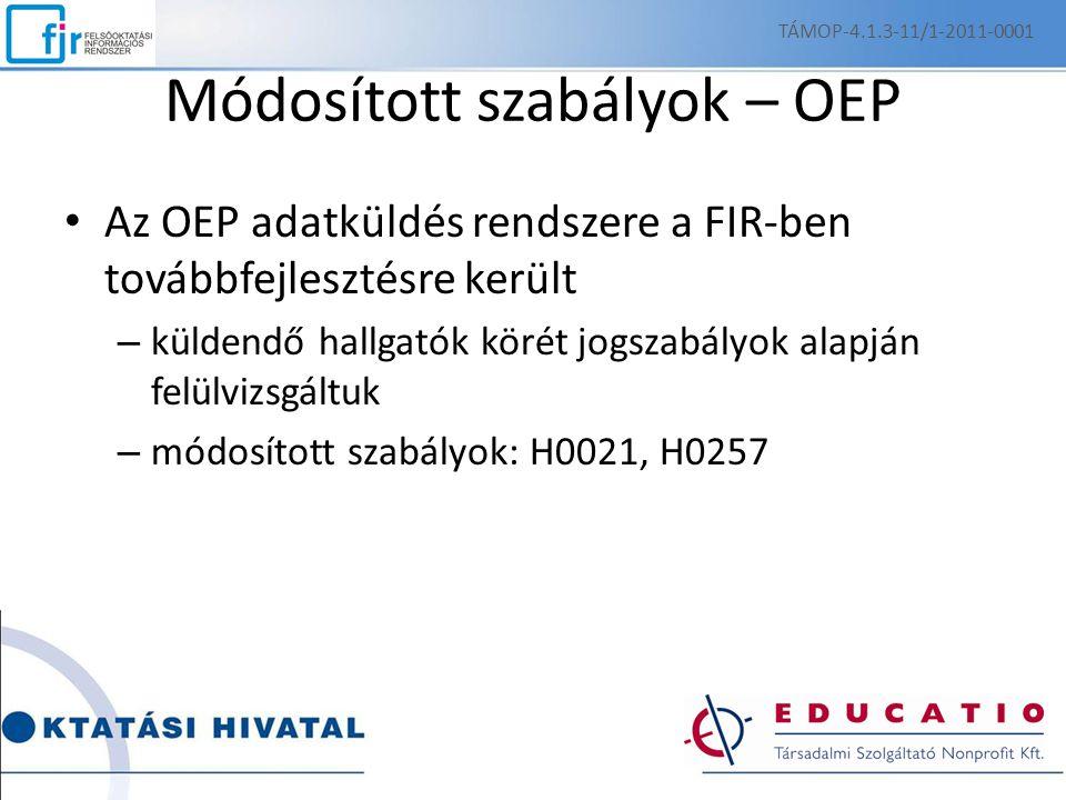 Módosított szabályok – OEP Az OEP adatküldés rendszere a FIR-ben továbbfejlesztésre került – küldendő hallgatók körét jogszabályok alapján felülvizsgáltuk – módosított szabályok: H0021, H0257 TÁMOP-4.1.3-11/1-2011-0001