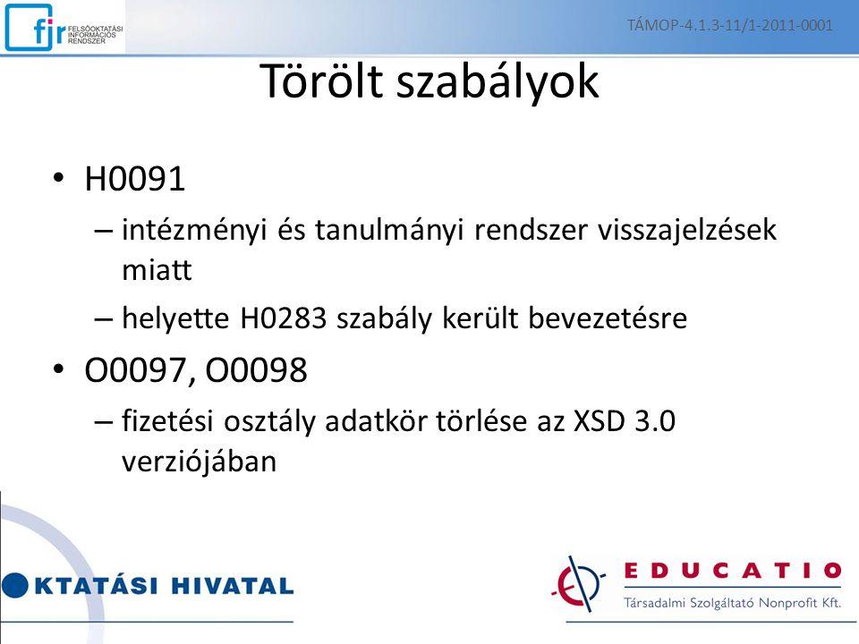 Törölt szabályok H0091 – intézményi és tanulmányi rendszer visszajelzések miatt – helyette H0283 szabály került bevezetésre O0097, O0098 – fizetési osztály adatkör törlése az XSD 3.0 verziójában TÁMOP-4.1.3-11/1-2011-0001