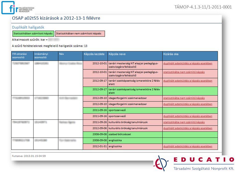 EKOP-1.A.1-08/C-2009-0009 TÁMOP-4.1.3-11/1-2011-0001