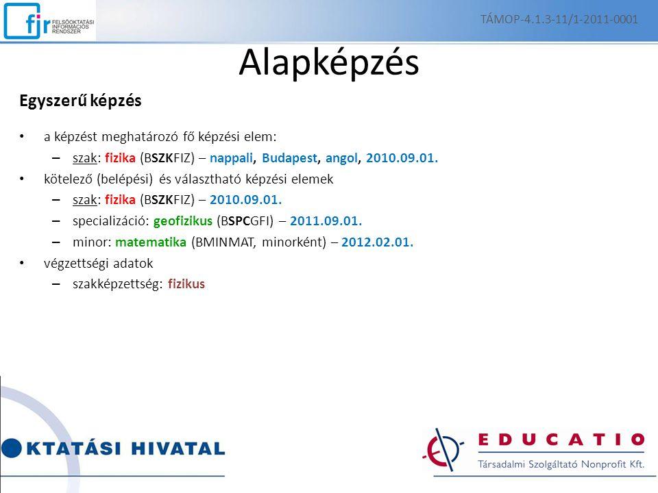 Alapképzés Egyszerű képzés a képzést meghatározó fő képzési elem: – szak: fizika (BSZKFIZ) – nappali, Budapest, angol, 2010.09.01.
